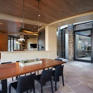 Immagine di una grande sala da pranzo aperta verso il soggiorno american style con pareti beige, pavimento in pietra calcarea, camino lineare Ribbon, cornice del camino in pietra e pavimento marrone
