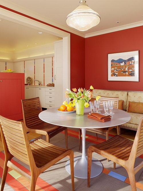Salle Manger De Luxe Avec Un Mur Rouge Photos Et Id Es