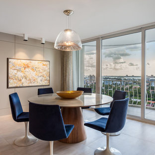 Inspiration For A Contemporary Beige Floor And Porcelain Floor Dining Room  Remodel In Miami With Beige