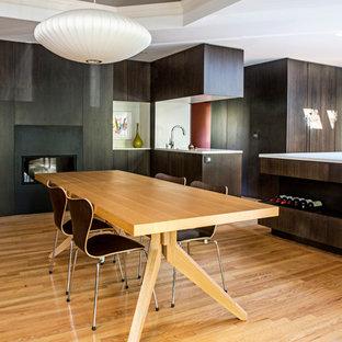 Foto de comedor de cocina minimalista, de tamaño medio, con paredes multicolor, suelo de madera clara, chimenea lineal, marco de chimenea de metal y suelo marrón
