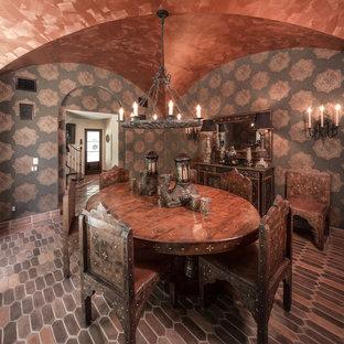 Idee per una grande sala da pranzo mediterranea chiusa con pareti multicolore e pavimento in terracotta