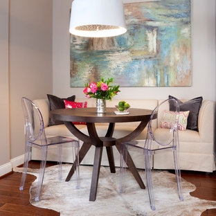 Transitional dining room photo in DC Metro with gray walls