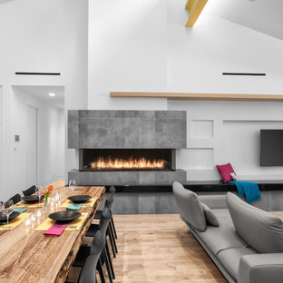 Inspiration for a contemporary light wood floor and beige floor great room remodel in Houston with white walls, a standard fireplace and a concrete fireplace