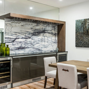 Trendy dining room photo in Brisbane with white walls