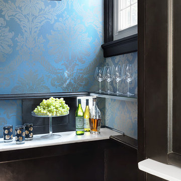 Bar with damask wallpaper