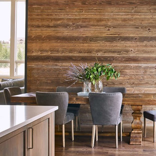 Inspiration For A Farmhouse Dark Wood Floor And Brown Kitchen Dining Room Combo Remodel