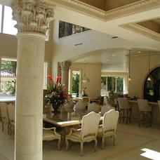 Mediterranean Dining Room by Richard Luke Architects P.C.
