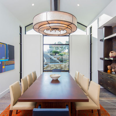 Huge transitional medium tone wood floor and gray floor enclosed dining room photo in Austin with white walls