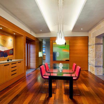 Example of a trendy dark wood floor dining room design in Austin