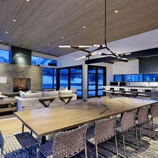 Diseño de comedor de cocina extra grande con paredes blancas, suelo de madera clara, chimenea tradicional y marco de chimenea de hormigón