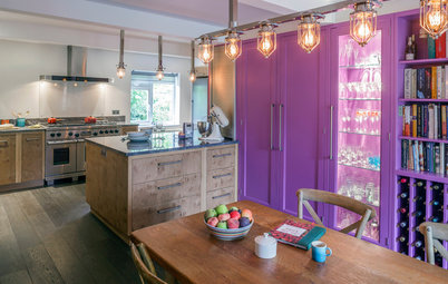 Purple Punches Up a Woodsy Kitchen