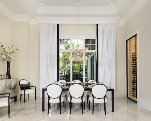 Transitional Dining Room Photo In Miami With Beige Walls And Beige Floors