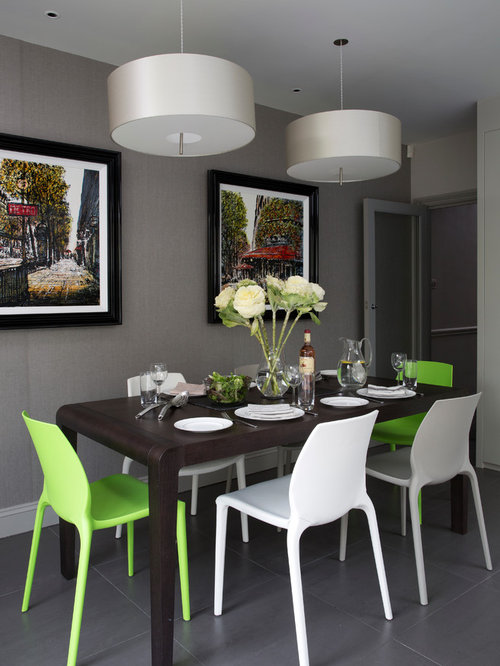 Inspiration For A Contemporary Dining Room In London With Grey Walls