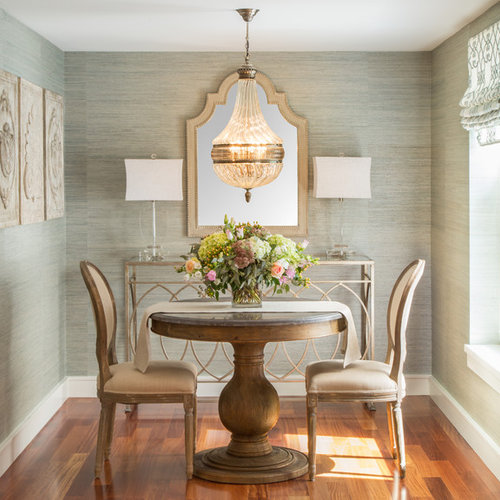Small Elegant Medium Tone Wood Floor Enclosed Dining Room Photo In Boston With Green Walls