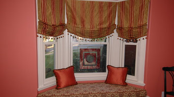 Bay window seat in Craftsman home