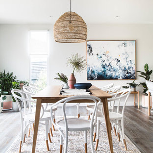 Danish Dark Wood Floor And Brown Floor Dining Room Photo In Melbourne With  White Walls