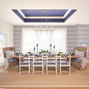 Large coastal medium tone wood floor and brown floor kitchen/dining room combo photo in Philadelphia with blue walls