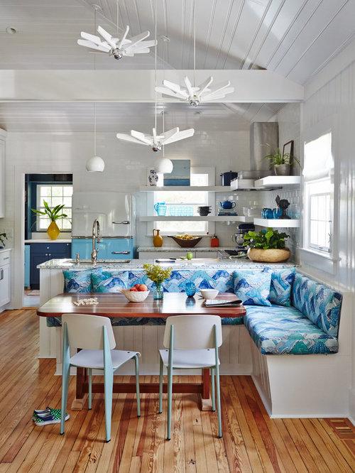 Coastal Medium Tone Wood Floor Kitchen/dining Room Combo Photo In  Charleston With White Walls