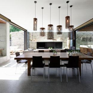 Foto de comedor contemporáneo, de tamaño medio, con paredes grises, suelo de cemento, chimenea tradicional, marco de chimenea de hormigón y suelo gris