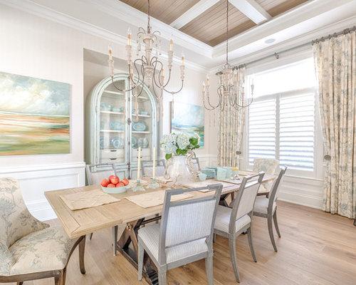 Large Coastal Medium Tone Wood Floor And Brown Floor Dining Room Photo In  Miami With Beige