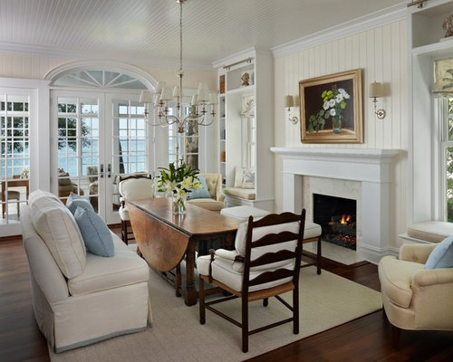 Mid Sized Beach Style Dark Wood Floor Great Room Idea In Other With White Walls