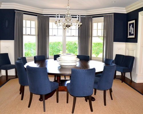 Inspiration for a beach style dining room remodel in New York - Navy Dining Chairs Houzz