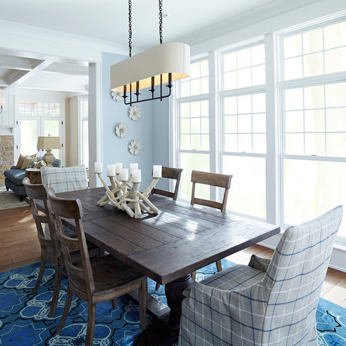 Coastal Dining Room Photo In Minneapolis With Blue Walls