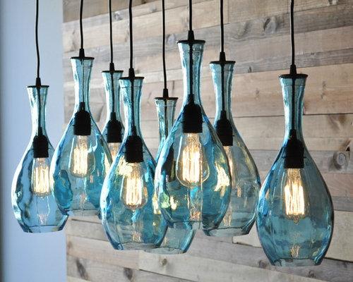 Glass bottle chandelier houzz - Glass bottle chandelier ...
