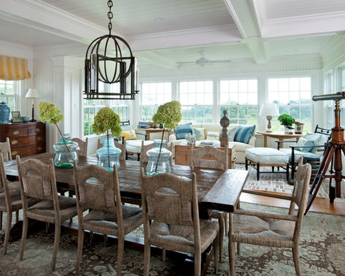 Great Inspiration For A Beach Style Dining Room Remodel In Boston With White  Walls And Medium Tone