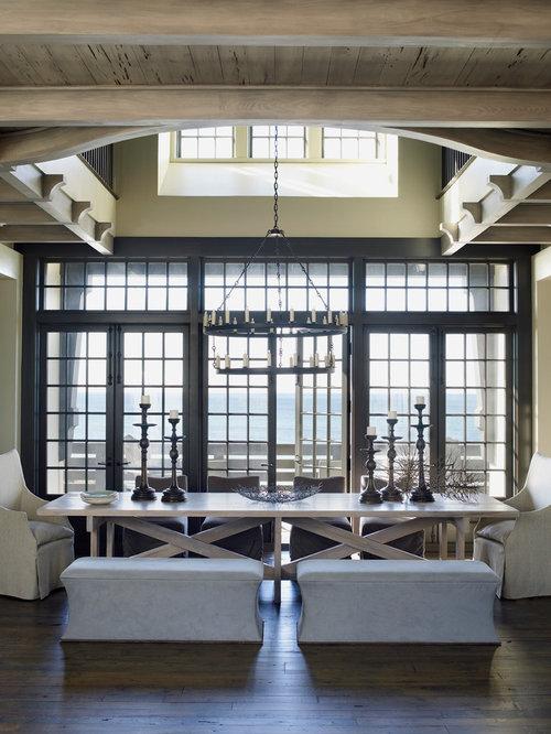 coastal dining room photo in atlanta with beige walls and dark hardwood floors