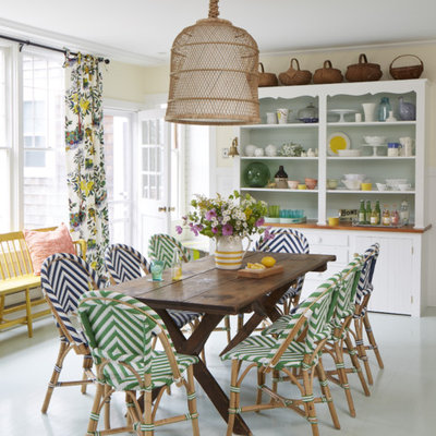 Inspiration for a mid-sized coastal painted wood floor and gray floor kitchen/dining room combo remodel in Portland Maine with yellow walls