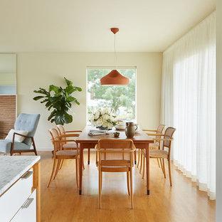 シアトルの中くらいのミッドセンチュリースタイルのおしゃれなLDK (白い壁、無垢フローリング、標準型暖炉、レンガの暖炉まわり、茶色い床) の写真