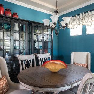 Ejemplo de comedor rústico, de tamaño medio, cerrado, sin chimenea, con paredes azules y suelo de madera oscura