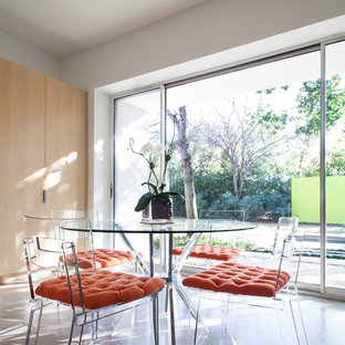 Trendy concrete floor dining room photo in Dallas with white walls