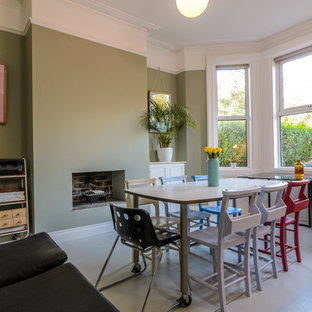 Dining Room   Eclectic Painted Wood Floor And White Floor Dining Room Idea  In Belfast