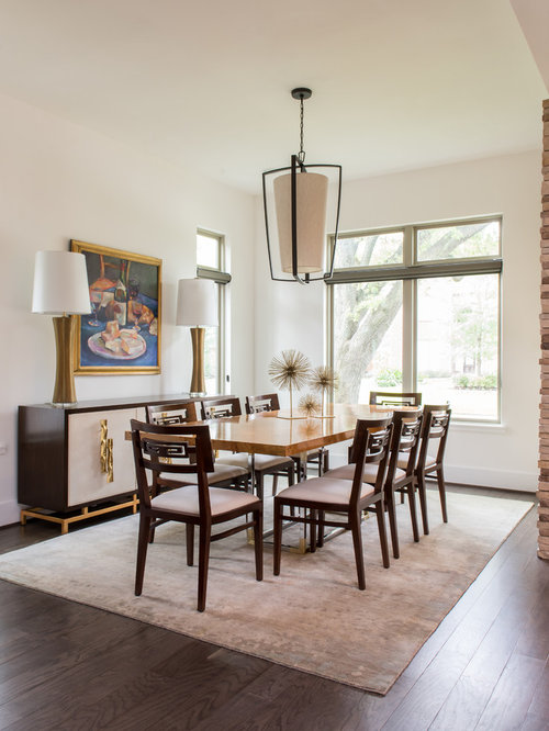 Example Of A Large Transitional Enclosed Dining Room Design In Houston With  White Walls And Medium