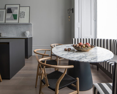 Design Ideas For A Modern Dining Room In London With Grey Walls