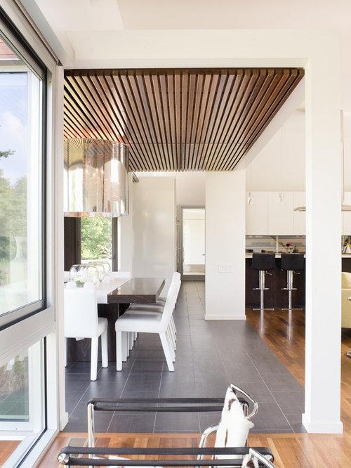 trendy ceramic floor great room photo in kansas city - Flooring Design Ideas