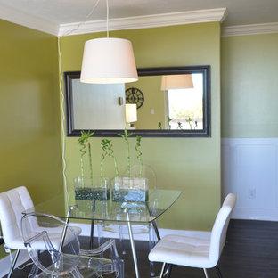 Foto de comedor de estilo zen, pequeño, abierto, con paredes verdes y suelo vinílico