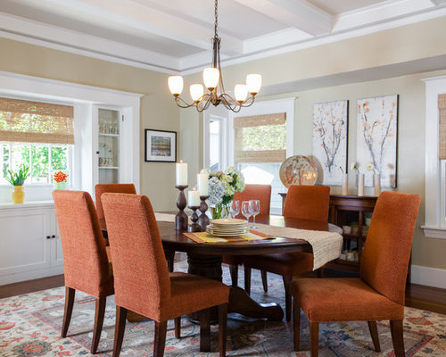 Example Of A Mid Sized Classic Dark Wood Floor Kitchen/dining Room Combo  Design