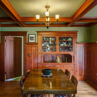 Arts and crafts medium tone wood floor and brown floor enclosed dining room photo in San Francisco with green walls