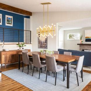 Cette photo montre une grand salle à manger ouverte sur la cuisine bord de mer avec un mur blanc, un sol en bois brun, une cheminée standard, un manteau de cheminée en pierre de parement, un sol marron et un plafond voûté.
