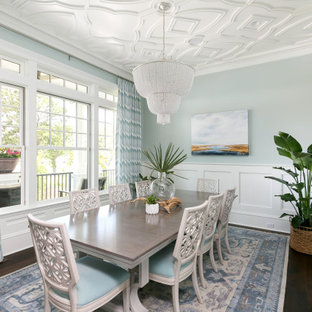Inspiration for a beach style dark wood floor enclosed dining room remodel in Charleston with blue walls and no fireplace