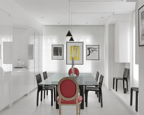 Mid Sized Trendy Porcelain Floor And White Enclosed Dining Room Photo In St Louis