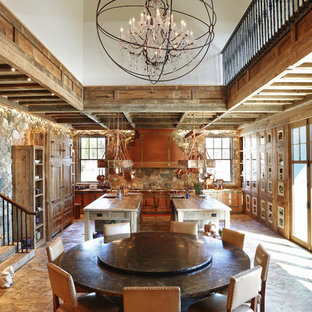 Inspiration for a huge rustic light wood floor kitchen/dining room combo remodel in New York