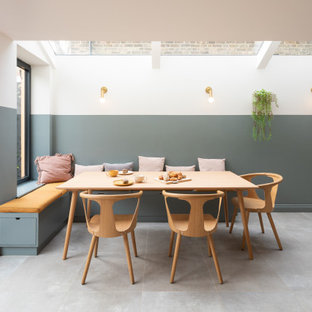 Bespoke L-shape banquette seating and skandi dining set