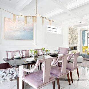 Foto på ett mellanstort funkis kök med matplats, med vita väggar, klinkergolv i porslin, en bred öppen spis, en spiselkrans i sten och flerfärgat golv