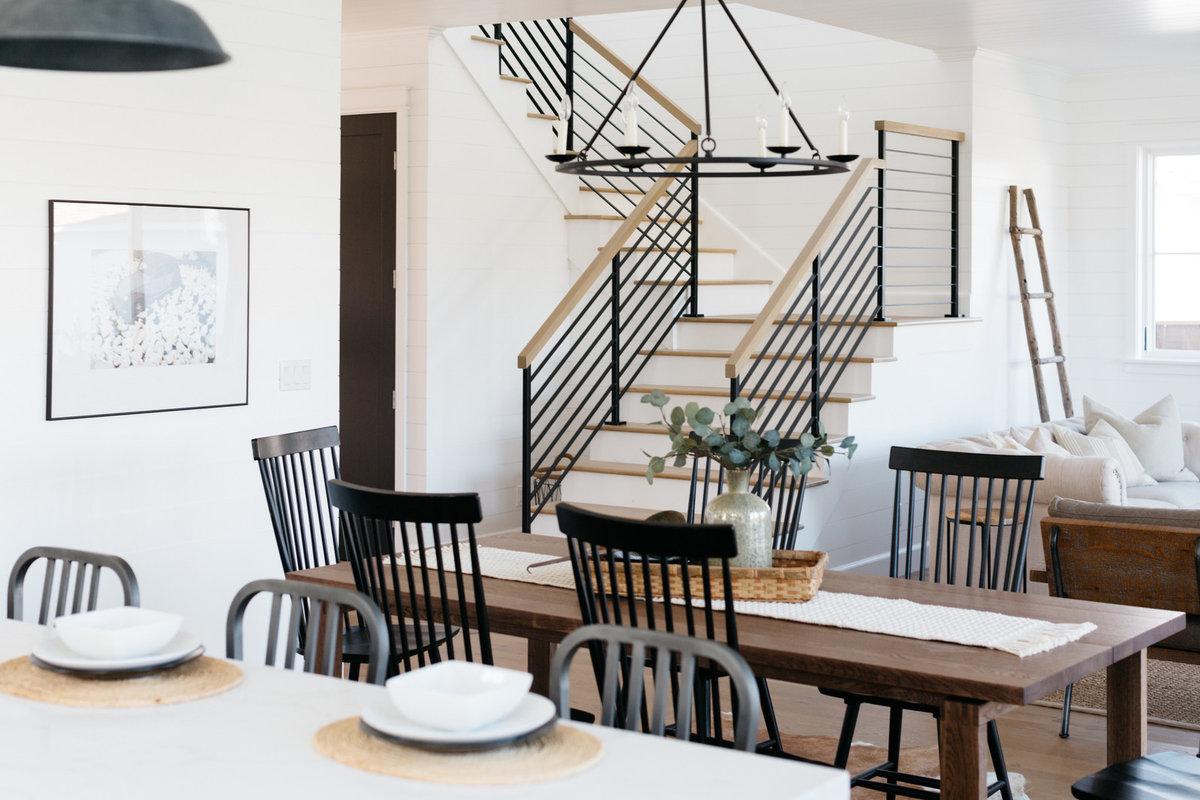 Black Metal Stair Rail in Modern Urban Farmhouse - Magnolia Home Style