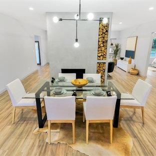 Ispirazione per una sala da pranzo aperta verso la cucina design con pareti grigie, camino classico, cornice del camino in cemento, pavimento in vinile e pavimento multicolore