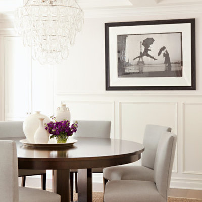 Inspiration for a mid-sized transitional dark wood floor enclosed dining room remodel in Los Angeles with white walls and no fireplace